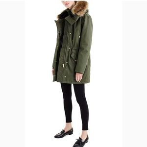 J. Crew perfect winter parka in green moss